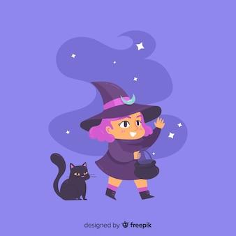 Bruxa de halloween bonito com gato preto
