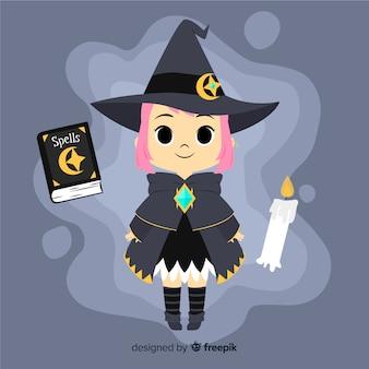 Bruxa de halloween bonito com livro de feitiços