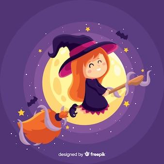 Bruxa de halloween bonito com lua cheia