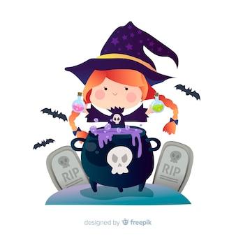 Bruxa de halloween bonito com pote de bruxa