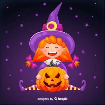 Bruxa de halloween bonito com uma abóbora