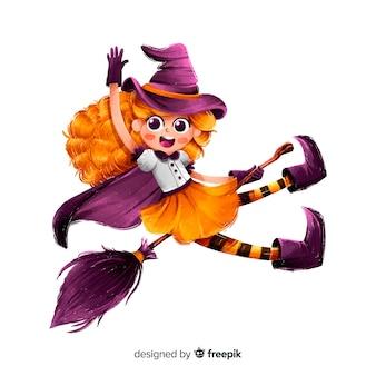 Bruxa de halloween bonito com vassoura