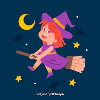 Bruxa de halloween bonito design plano
