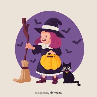 Bruxa de halloween bonito e gato preto