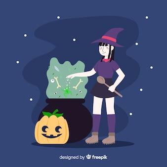 Bruxa de halloween bonito fazendo feitiços