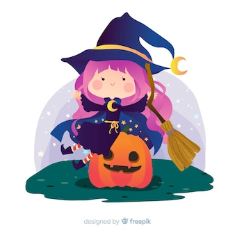 Bruxa de halloween bonito na abóbora