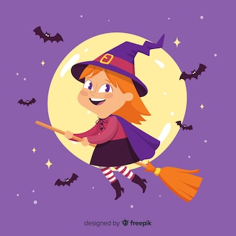 Bruxa de halloween bonito na vassoura com morcegos
