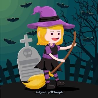 Bruxa de halloween bonito na vassoura