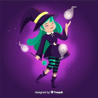 Bruxa de halloween com cabelos verdes e bonitos fantasmas