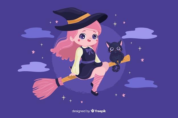 Bruxa de halloween com gato fofo