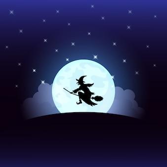 Bruxa de noite de halloween na lua cheia