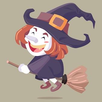 Bruxa de personagem de halloween de ilustração vetorial