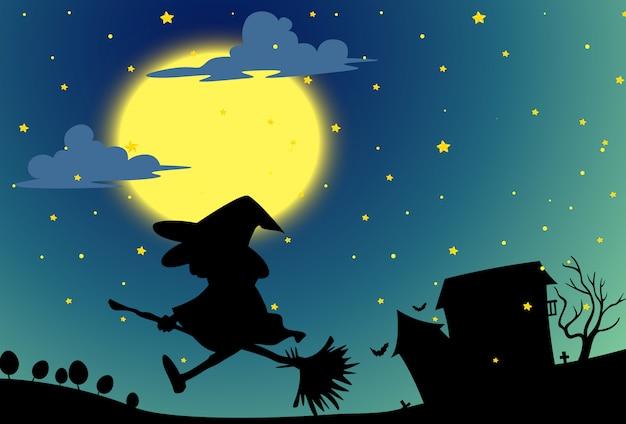 Bruxa de silhueta voando na vassoura à noite