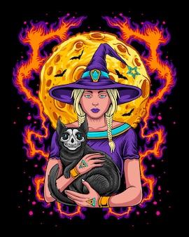 Bruxa do halloween segurando um gato com caveira preta