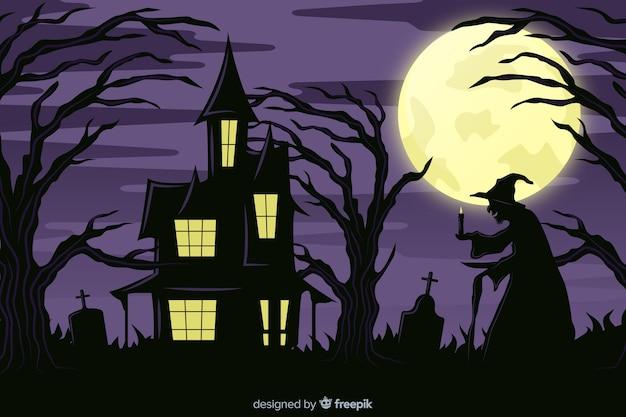 Bruxa e casa assombrada em um fundo de noite de lua cheia