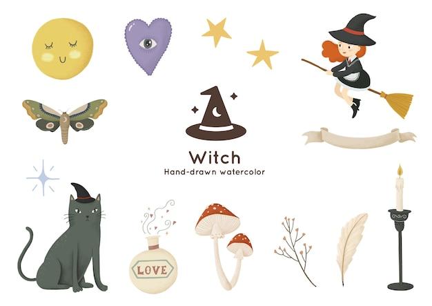 Bruxa e elementos mágicos desenhados à mão em aquarela ilustração
