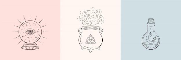Bruxa e símbolos mágicos com bola de cristal, garrafa de cristal mágico, caldeirão