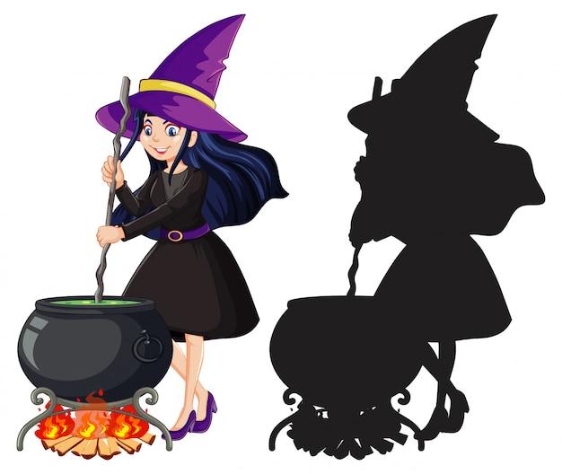 Bruxa em cor e silhueta personagem de desenho animado isolada no fundo branco