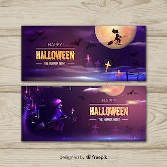 Bruxa em uma vassoura banners de halloween