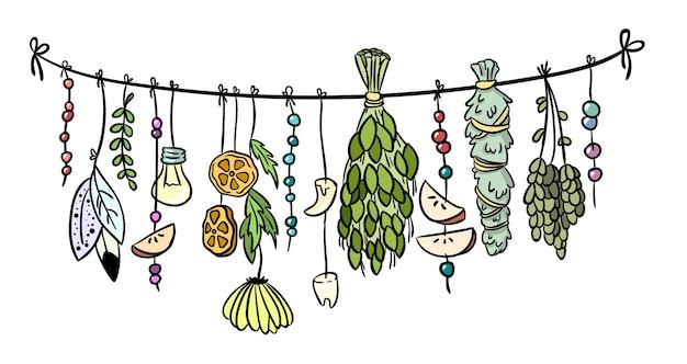 Bruxa ervas boho pendurado decoração colorida doodle