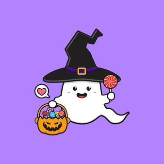 Bruxa fantasma fofa segurando balde de abóbora cheio de ilustração do ícone de desenho animado