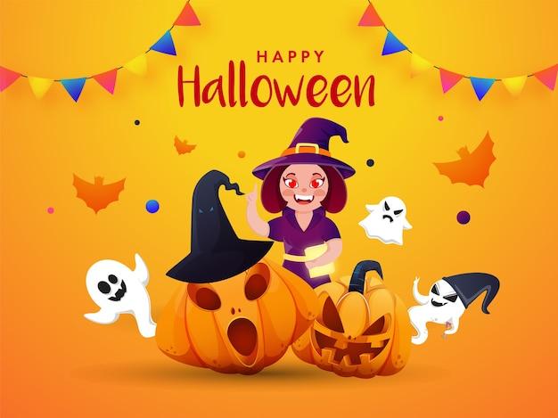 Bruxa fantasmas, morcegos assustadores de abóboras e bandeiras para feliz festa de halloween