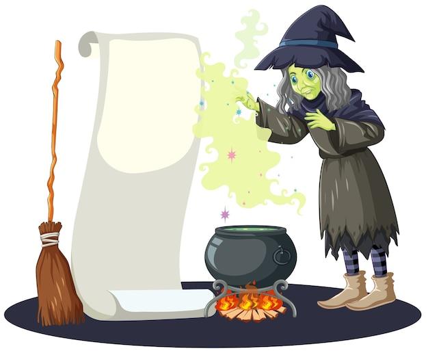 Bruxa feia com pote de magia negra, cabo de vassoura e papel de banner em branco no estilo cartoon, isolado no fundo branco