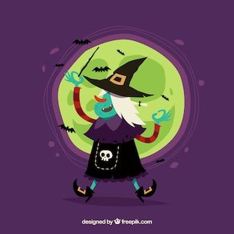 Bruxa feliz com morcegos e lua cheia