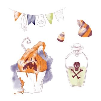 Bruxa fofa com ilustração de aquarela