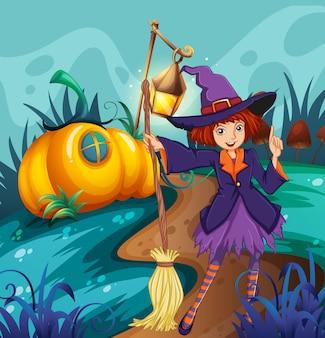 Bruxa fofa e casa de cogumelo