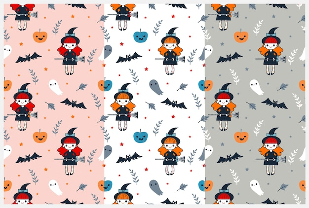 Bruxa fofa e padrão de elementos de halloween