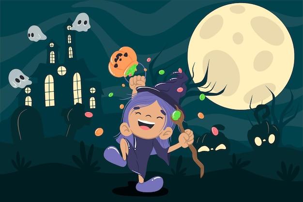 Bruxa fofa fundo de halloween