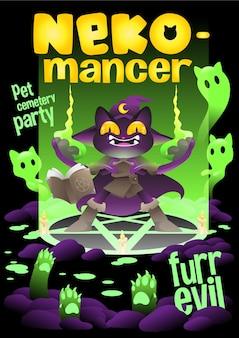 Bruxa gata ressuscitando o gato morto, gata necromante festa de halloween