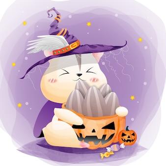 Bruxa hamster na festa de halloween e sementes de girassol.