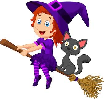 Bruxa jovem dos desenhos animados, voando em sua vassoura