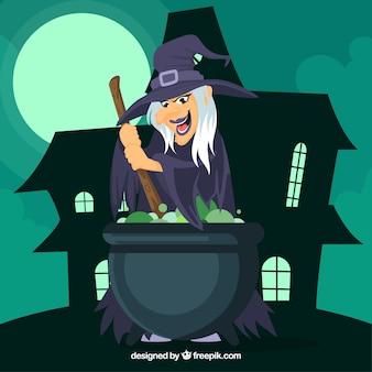 Bruxa lisa cozinhando uma poção