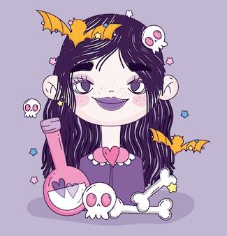 Bruxa menina doce ou travessura feliz dia das bruxas