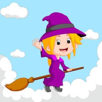 Bruxa montando uma vassoura