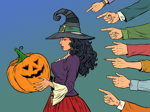 Bruxa mulher com abóbora halloween feriado sazonal vergonha vergonhosa tema bullying pop art