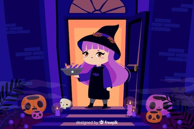 Bruxa na frente de uma casa fundo de halloween