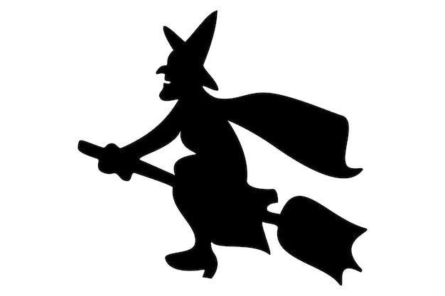 Bruxa negra na vassoura, fundo branco, símbolo do dia das bruxas, vetor