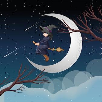 Bruxa ou assistente, montando o cabo de vassoura no céu isolado no fundo do céu