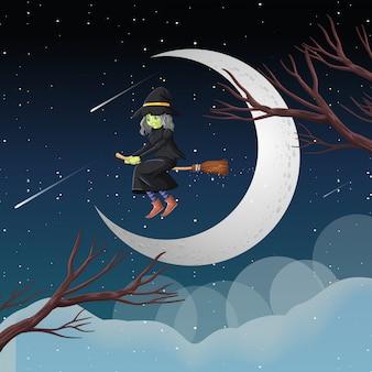 Bruxa ou assistente, montando o cabo de vassoura no céu, isolado no fundo do céu