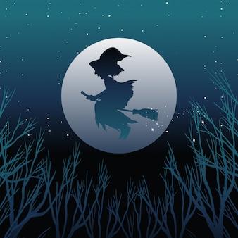 Bruxa ou assistente, montando o cabo de vassoura no silhouetteon o céu isolado no fundo do céu