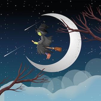 Bruxa ou mago cavalgando uma vassoura no céu isolado no fundo do céu