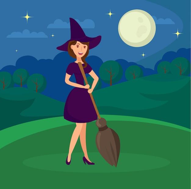 Bruxa sorridente segurando a ilustração plana de cabo de vassoura