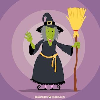 Bruxa sorridente segurando vassoura
