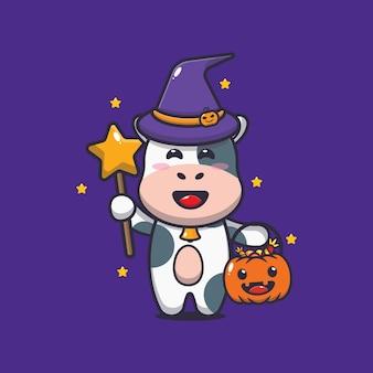 Bruxa vaca fofa com varinha mágica carregando abóbora de halloween ilustração fofa dos desenhos animados de halloween