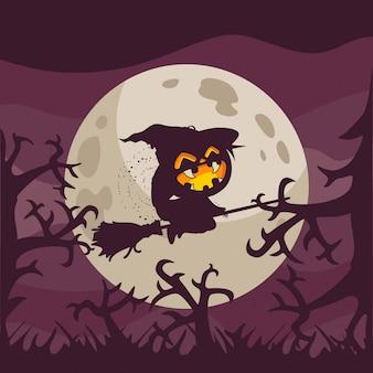 Bruxa voando com sombra da lua