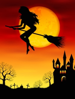 Bruxa voando em uma vassoura